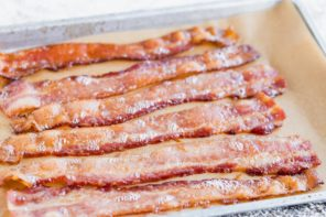 juicy crispy bacon on a tray