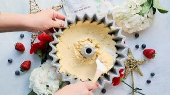 spreading cake batter in to a bundt pan