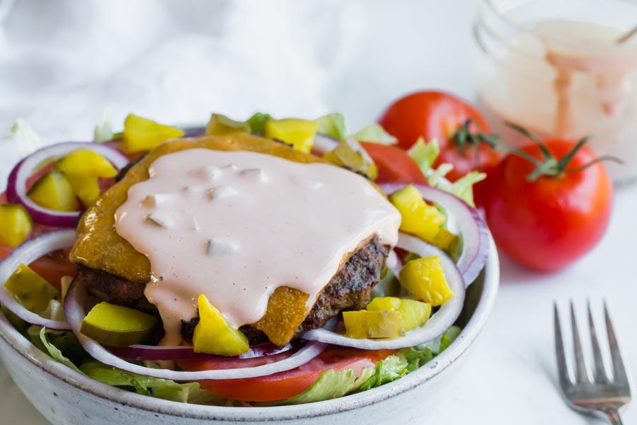 big mac salad with thousand island dressing