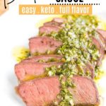 juicy flat iron steak topped with chimichurri