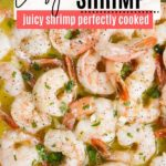 juicy cooked shrimp with butter and parsley