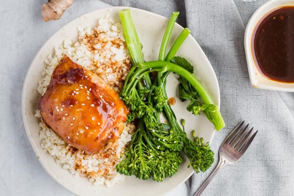 keto chicken teriyaki over cauliflower rice and broccoli