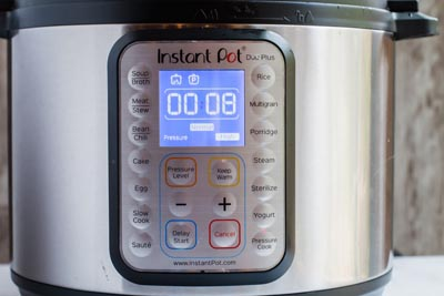 instant pot set to 8 minutes