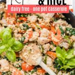 a chicken and rice skillet dinner with tomato and basil
