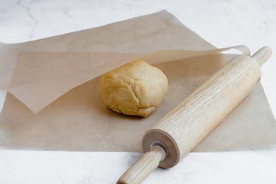 layer dough between parchment paper