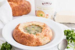 keto soup inside a bread bowl