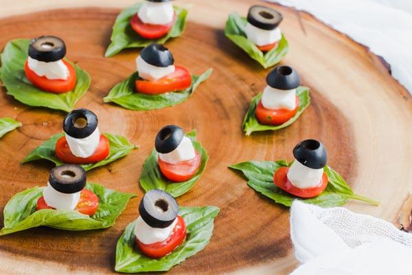 keto caprese bites on a platter