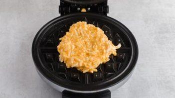 chaffle batter on a waffle iron