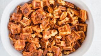 dry chaffle breading on in a casserole dish