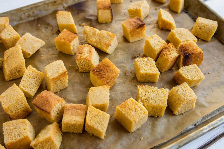 toasted keto cornbread cubes