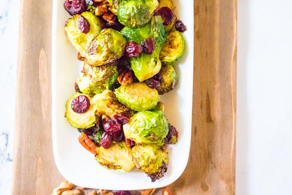 crispy brussels sprouts in a serving dish
