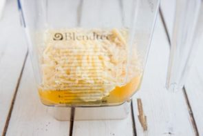egg and cheese sitting at the base of a blendtec blender
