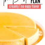 a slice of flan part way out