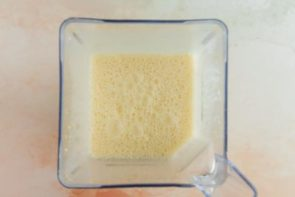 flan mixture in a blender