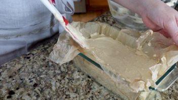 egg loaf battre poured in a loaf pan
