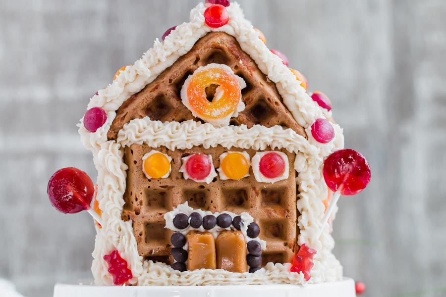 gingerbread chaffle house on a stand