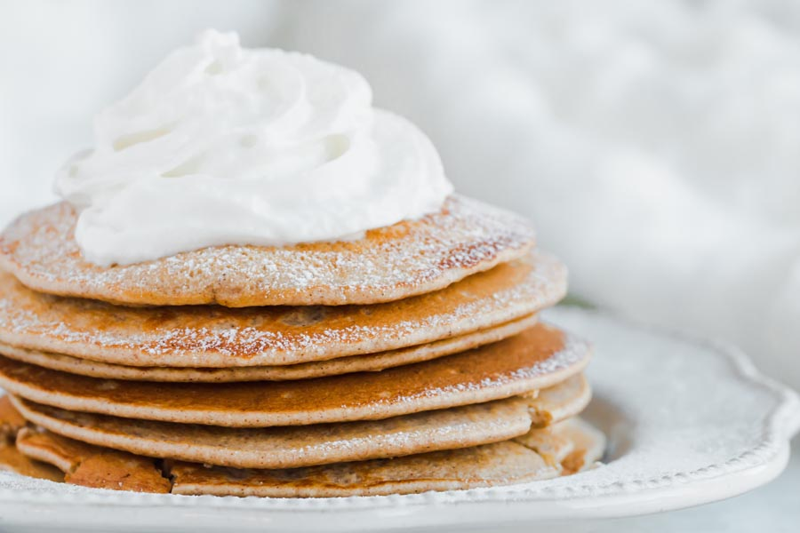 stack of keto gingerbread pancakes