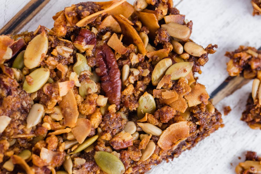 a granola bar with lots of seeds and nuts in it