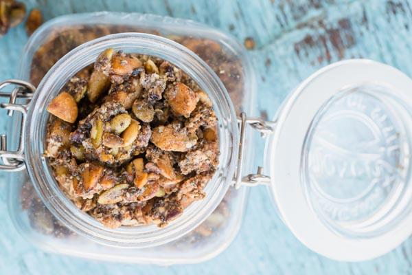 keto granola in a mason jar