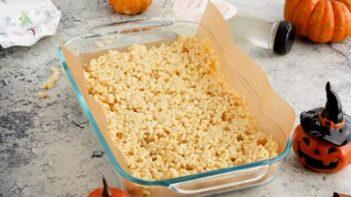 sugar free rice crispy mixture in a baking dish