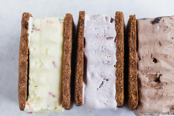 thick ice cream sandwiches in a row