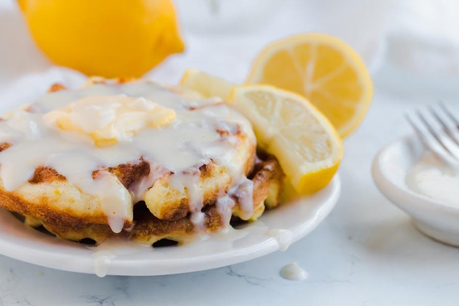 lemon chaffle with lemon icing on top