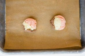 three layers of neapolitan cookie dough in a cookie scoop
