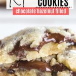 chocolate hazelnut filled cookies in a stack