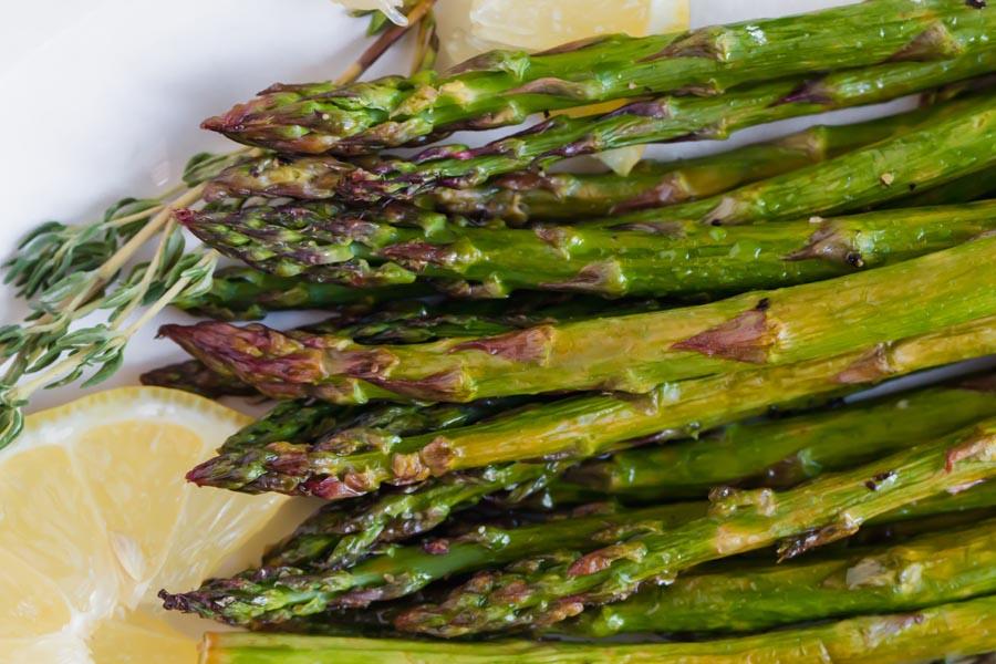 crisp roasted dark green asparagus