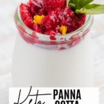 a thick panna cotta with a raspberry syrup and basil leave