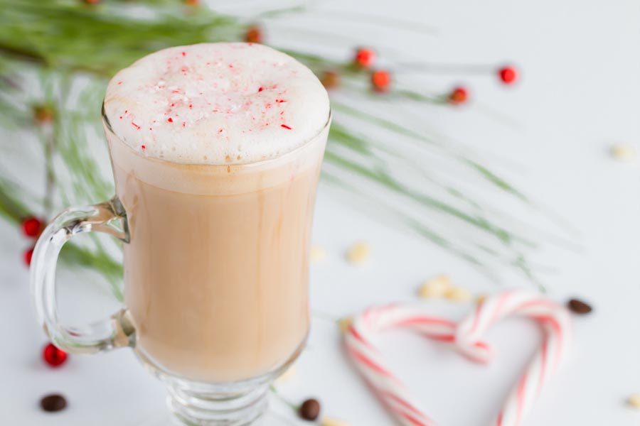 keto peppermint white mocha with a candy cane heart