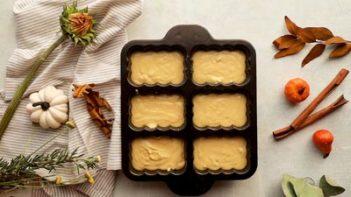 pumpkin bread batter in mini loaf pans