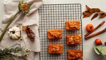 mini keto pumpkin loaves on a wire rack
