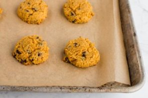 pumpkin cookie batter with chocolate chips