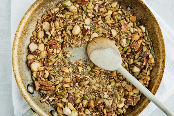 roasted nuts in a skillet