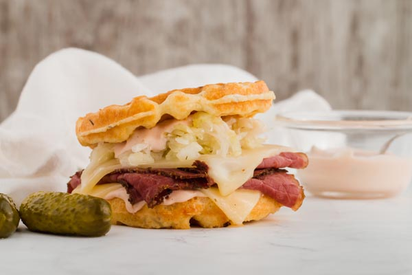 chaffle reuben sandwich with pickles