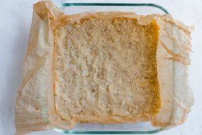 press keto shortbread crust into baking dish