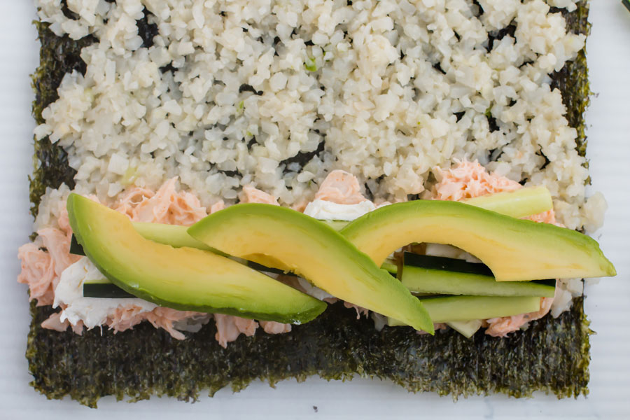 Keto Sushi - add cucumber