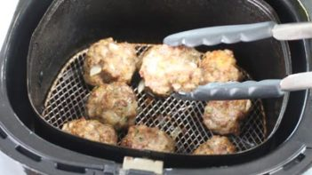 philips air fryer with keto taco meatballs inside