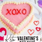 conversation heart cake with xoxo on it