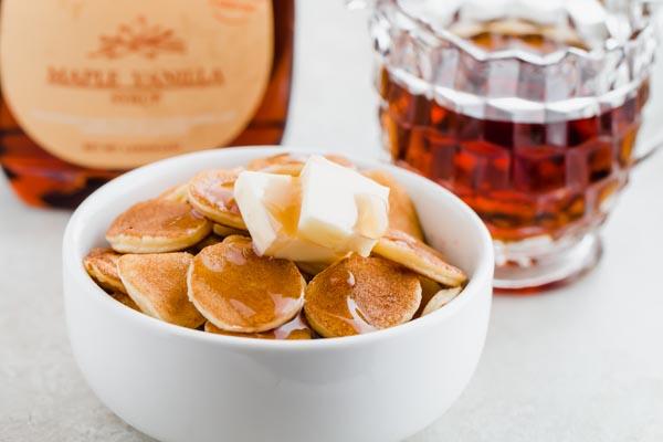 sugar free maple syrup on mini gluten free pancakes