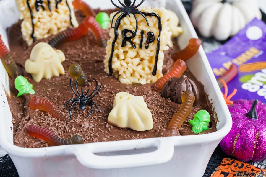 rice cripsy tombstones on a halloween cake