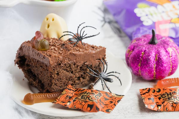 a slice of chocolate halloween cake
