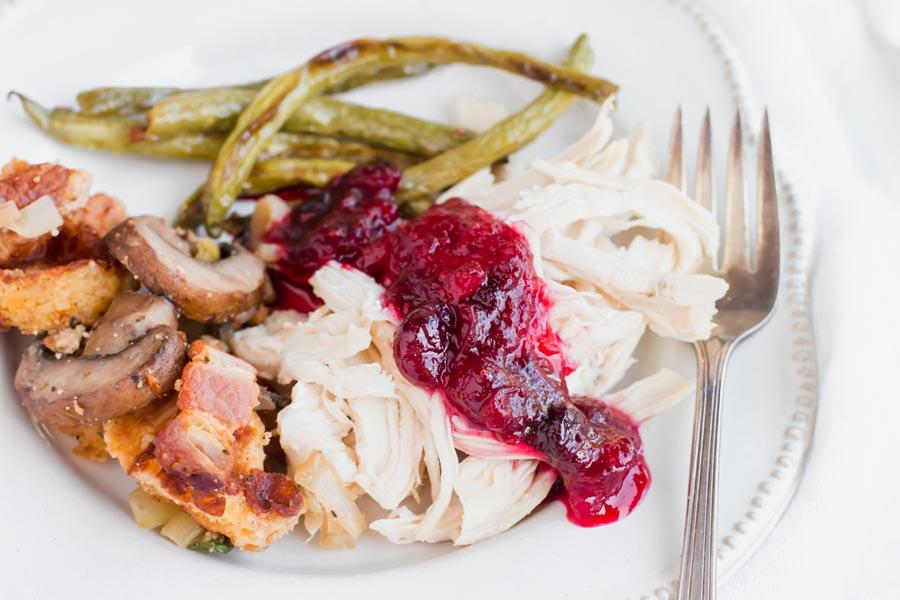 vanilla cranberry sauce dizzled on turkey