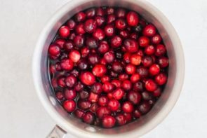 whole cranberries in a sauce pan