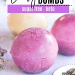 two purple and one white tea bomb filled with lavender tea